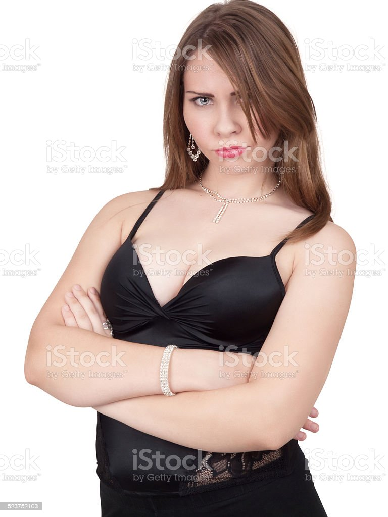 Beautiful young lady angry stock photo