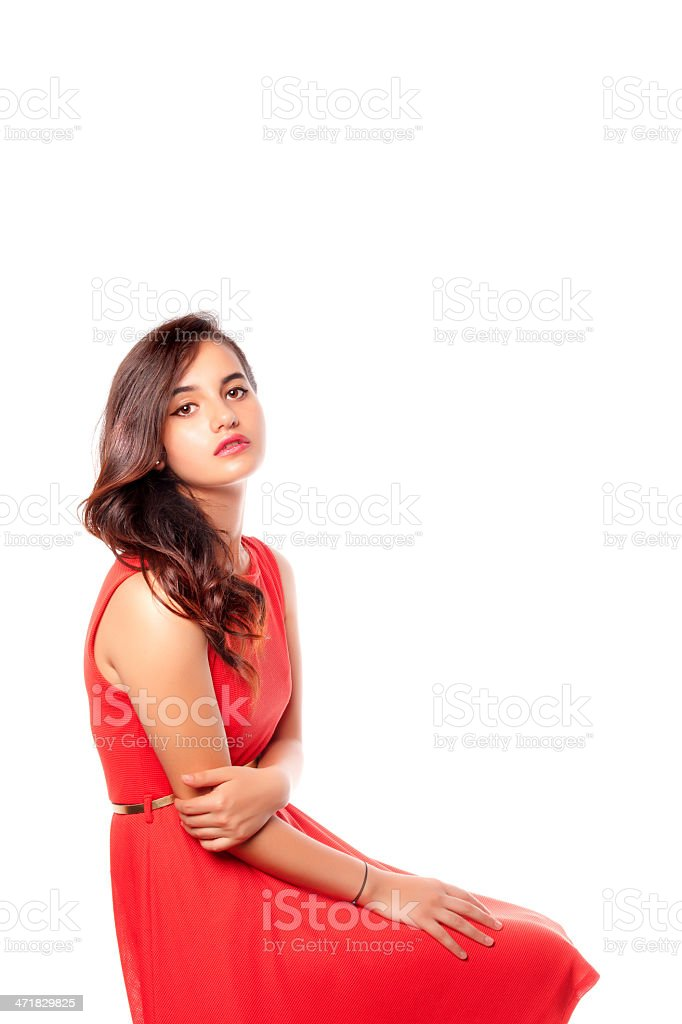 Beautiful young lady posing over white royalty-free stock photo