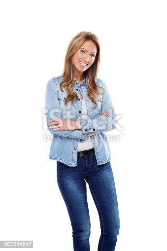 istock Beautiful young lady standing casually 500394847