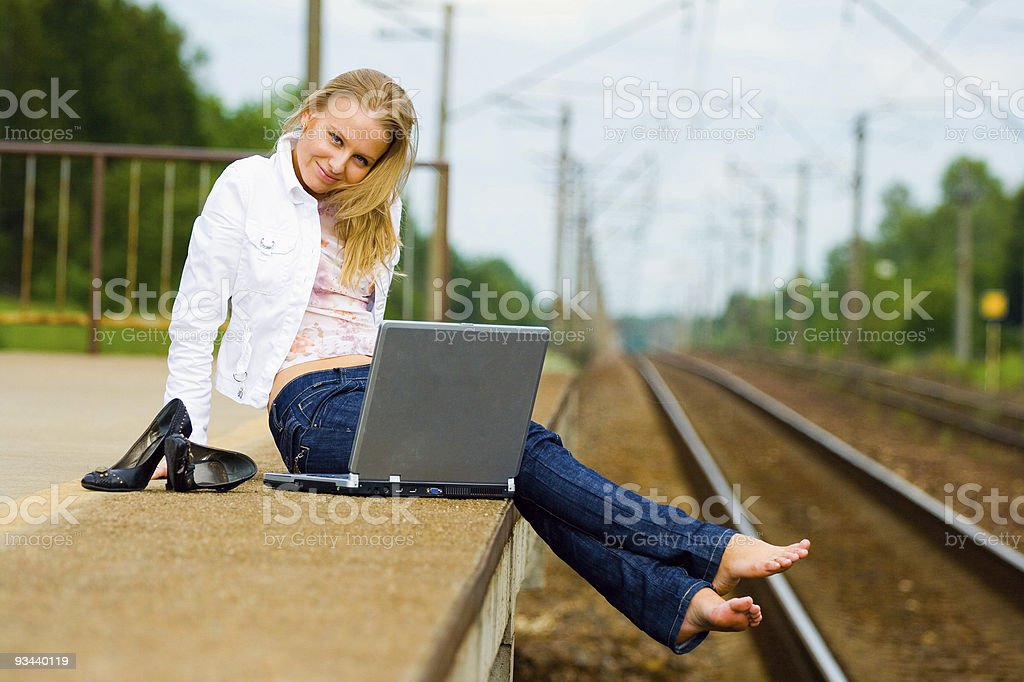 beautiful young lady with notebook stock photo