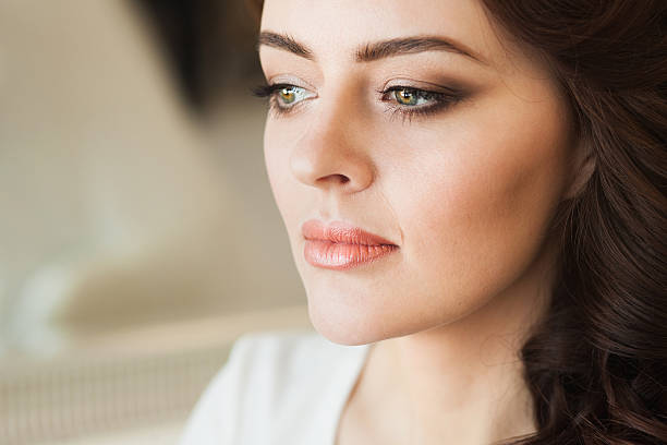 Beautiful young lady with soft make up Beautiful young lady with soft make up and bright eyes human nose stock pictures, royalty-free photos & images