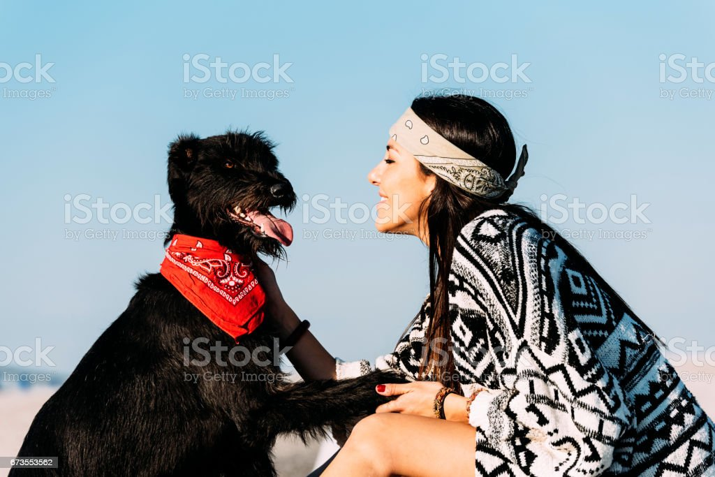 Beautiful young loving her dog. royalty-free stock photo