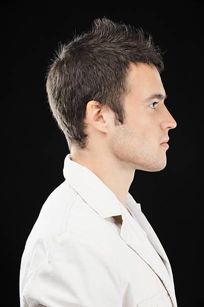 Beautiful young man in profile stock photo