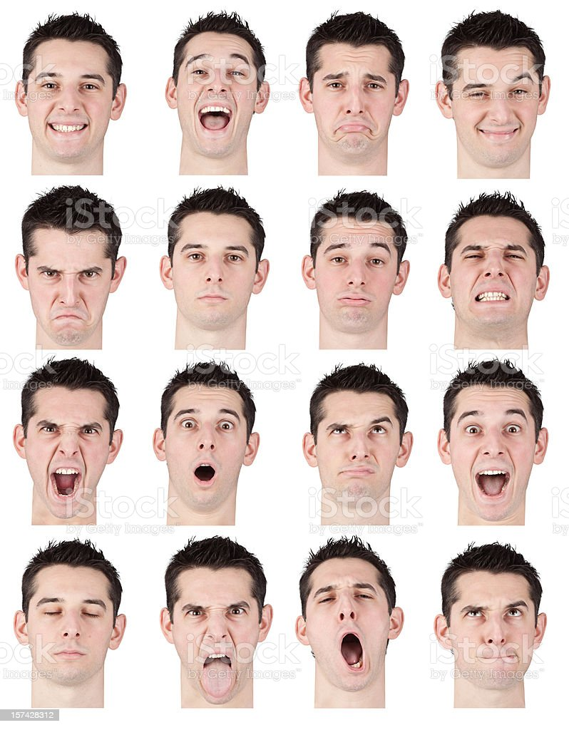 beautiful young man multiple expression face isolated on white royalty-free stock photo