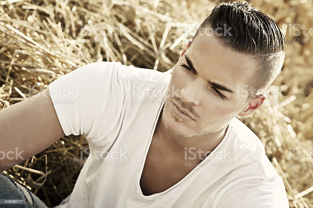 beautiful young man outdoors royalty-free stock photo