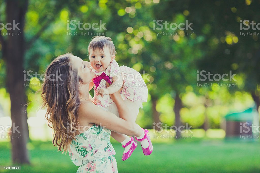 Beautiful Young Mother Daughter stock photo