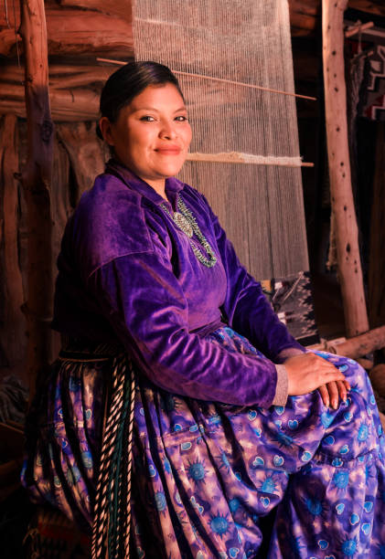 beautiful young navajo woman portrait - navajo culture stock photos and pictures