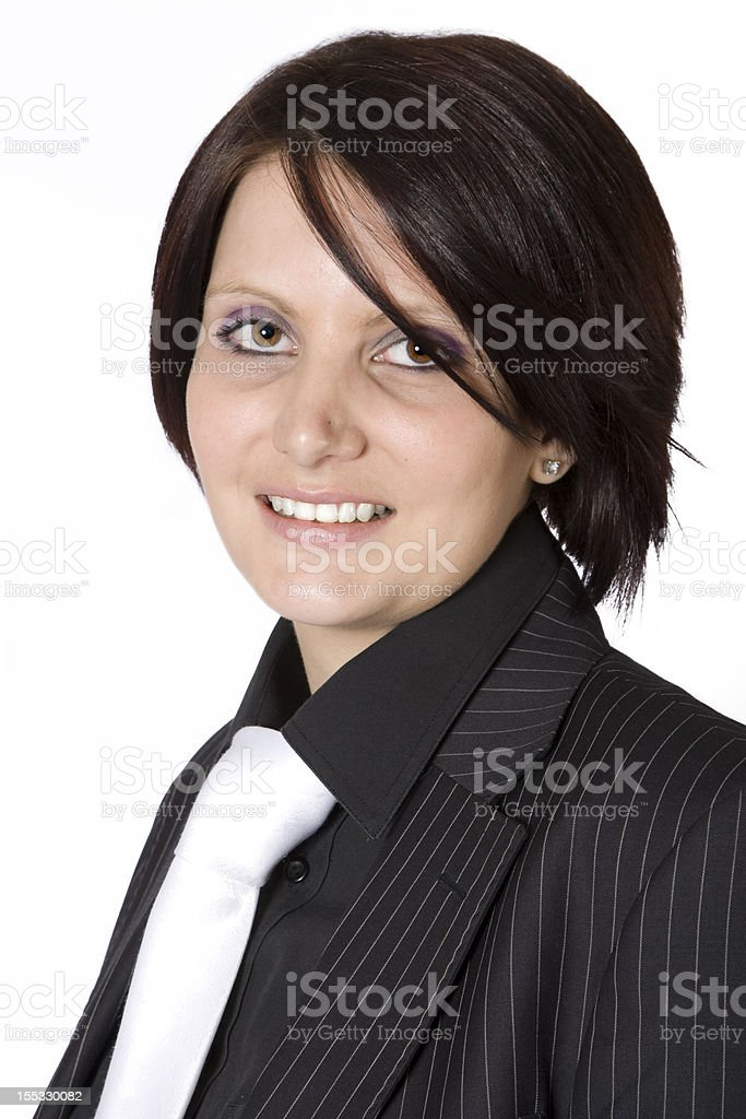 Beautiful young professional woman with black suit stock photo