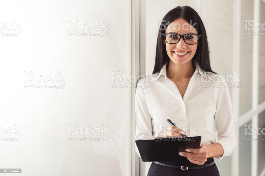 Beautiful young psychotherapist stock photo