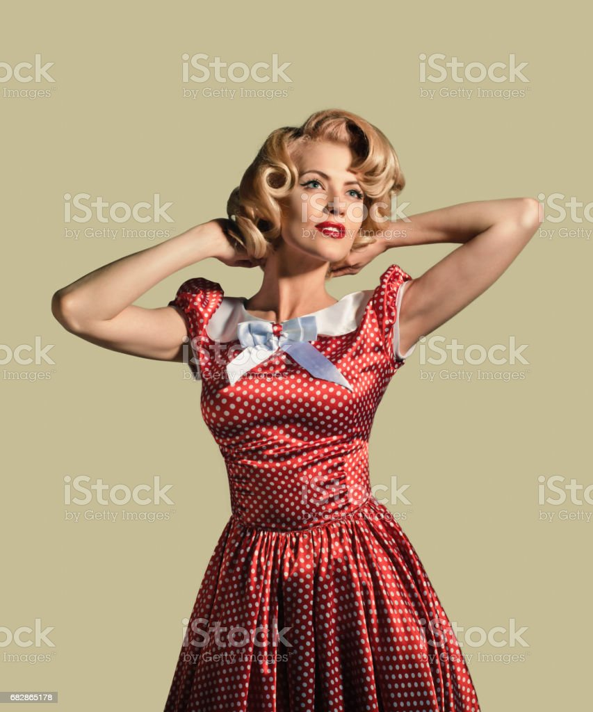Retro. Surprised Scared Pinup Girl Woman Stock Photo