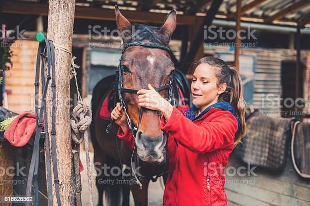 Beautiful young rider preparing a horse for equestrian training picture id618628362?b=1&k=6&m=618628362&s=612x612&h=llb9zhizuy9lna6odwk7ziohhkbuidx8kemqhs3lwqq=