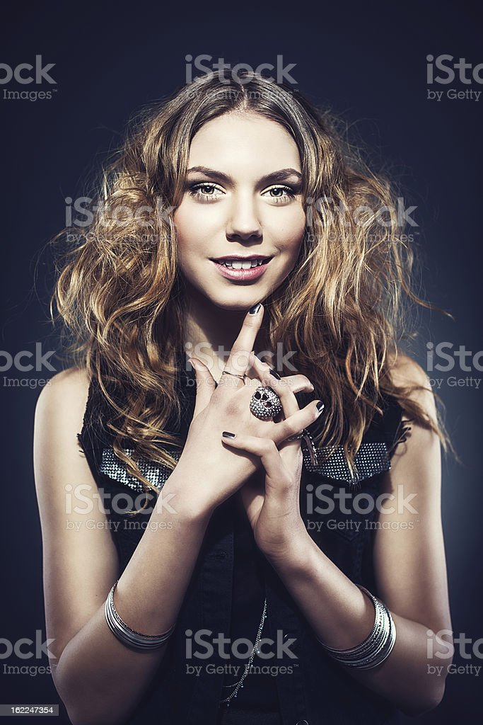 Beautiful young rock chic woman royalty-free stock photo