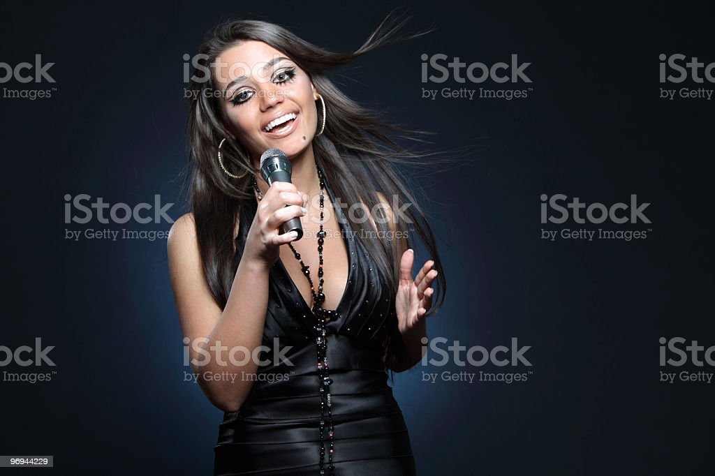 beautiful young singer royalty-free stock photo