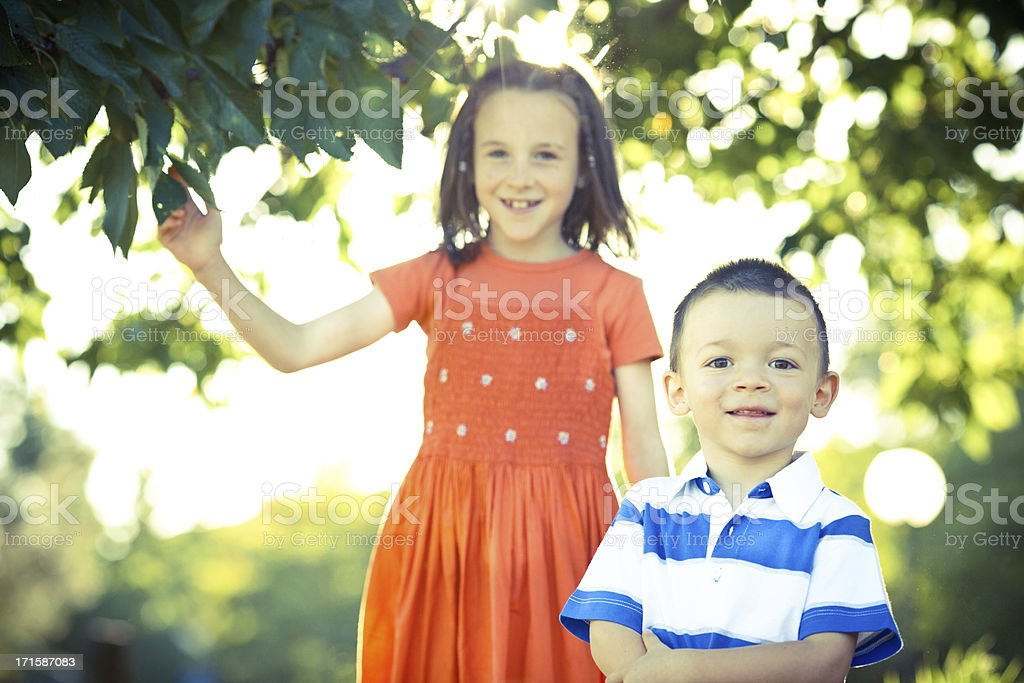 beautiful young sister and brother at sunny park royalty-free stock photo
