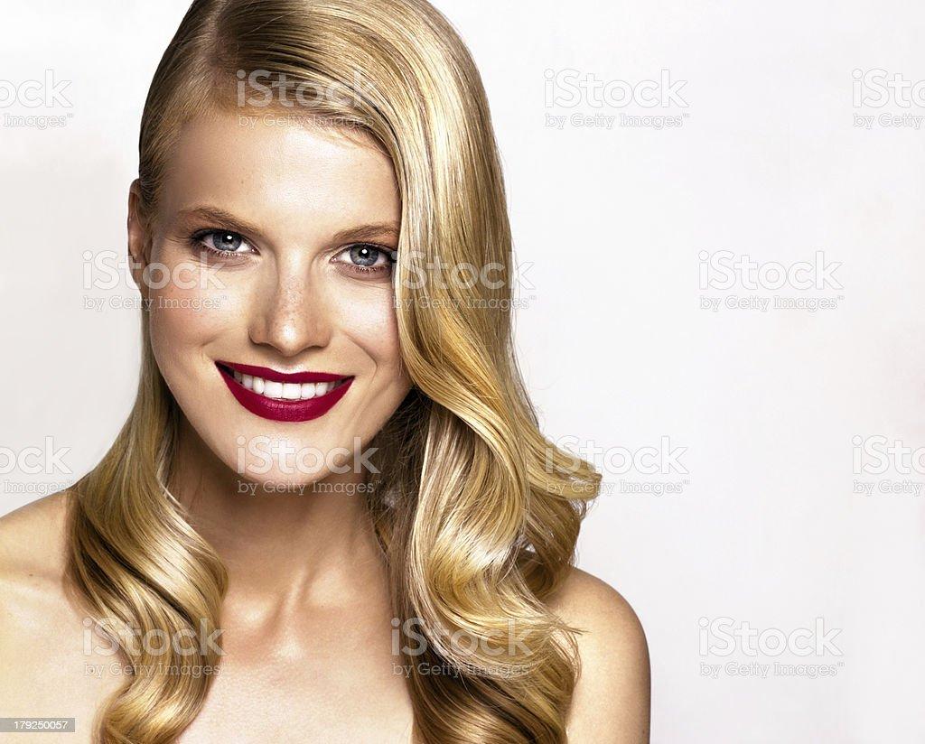 beautiful young smiling woman stock photo