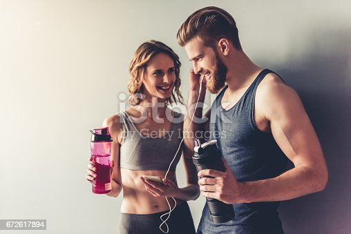 istock Beautiful young sports couple 672617894