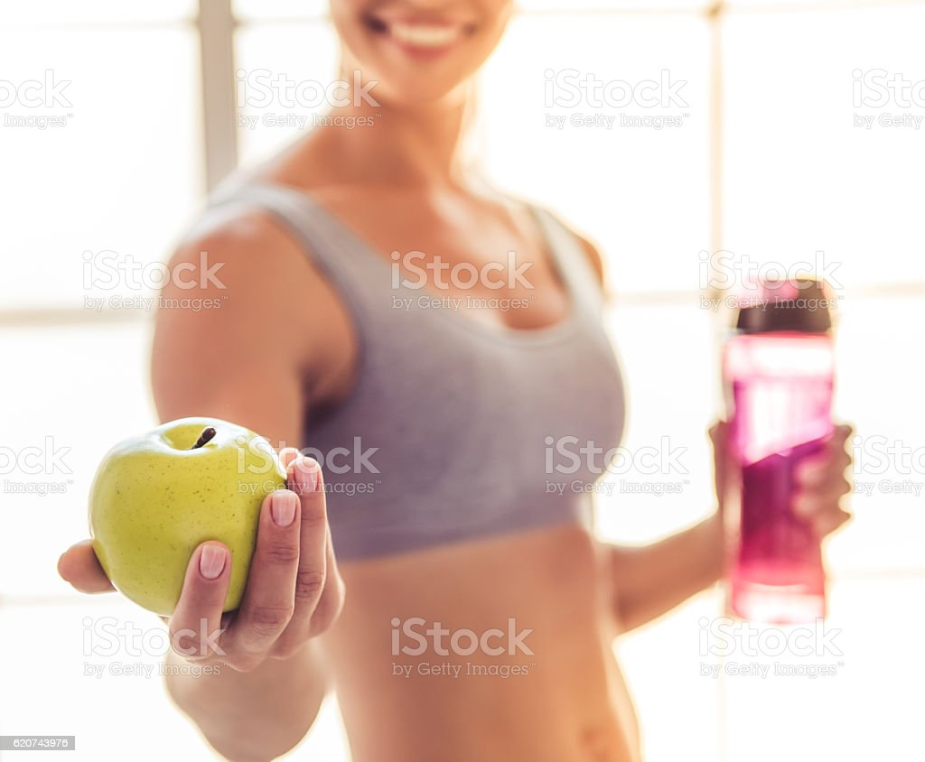 Beautiful young sports lady - Lizenzfrei Abnehmen Stock-Foto