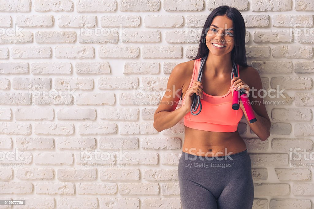 Beautiful young sportswoman stock photo