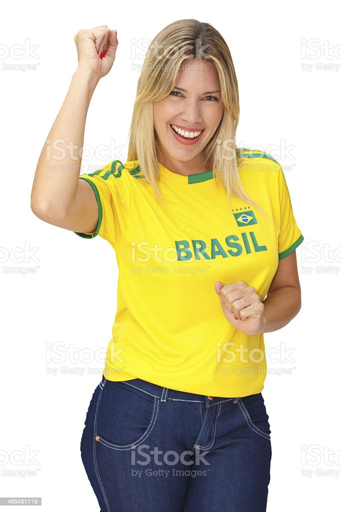 Beautiful young supporter of Brazil royalty-free stock photo