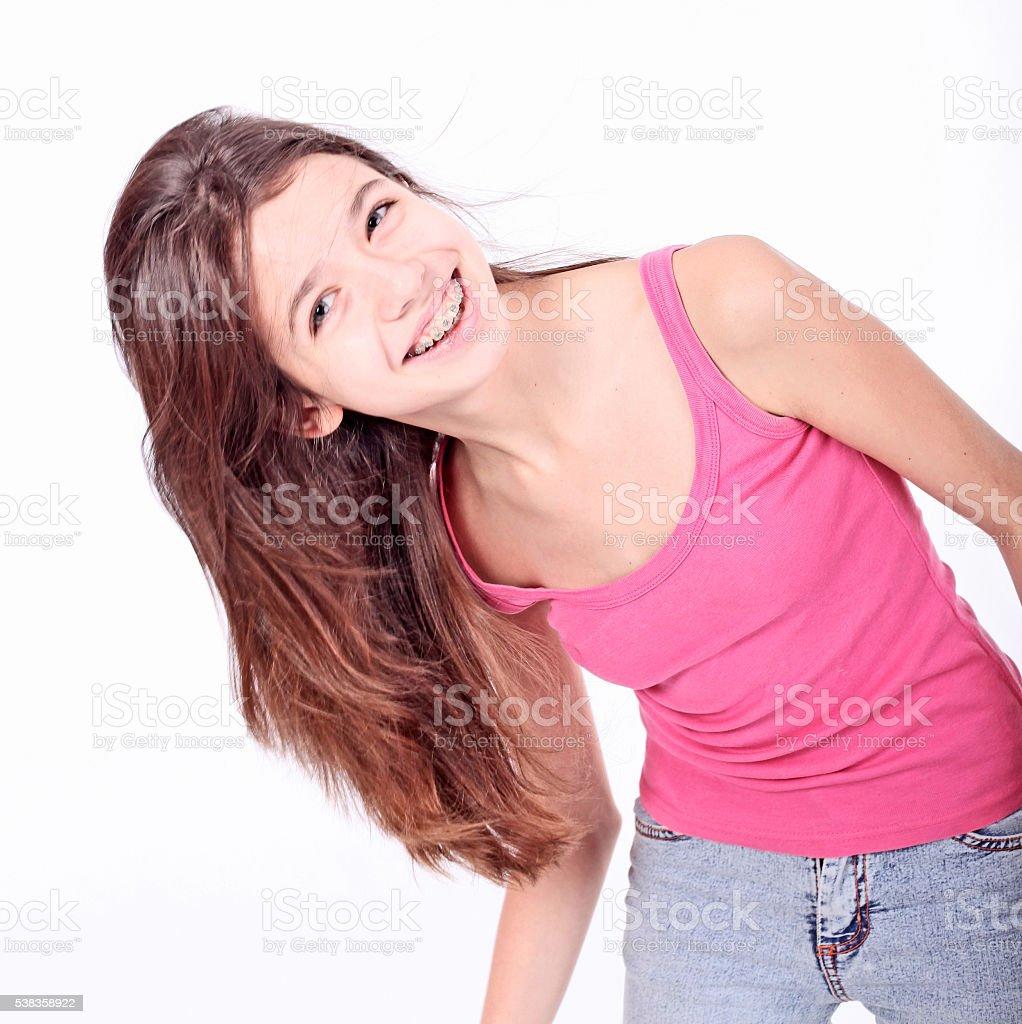 Beautiful Young Teen Girl Brackets On Stock Photo