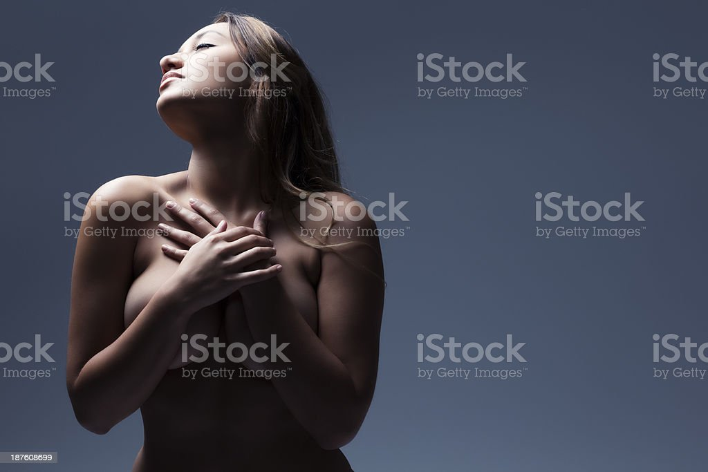 Beautiful Young Topless Hispanic Woman stock photo