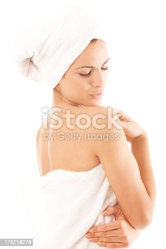 istock Beautiful young woman after shower isolated on white background 175218278