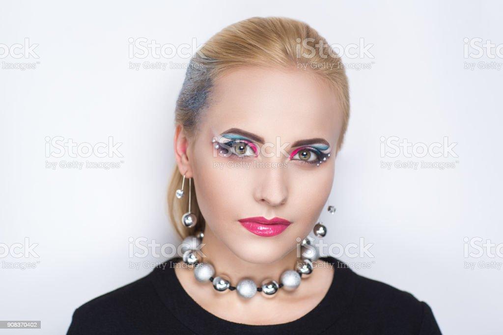beautiful young woman art make up stock photo