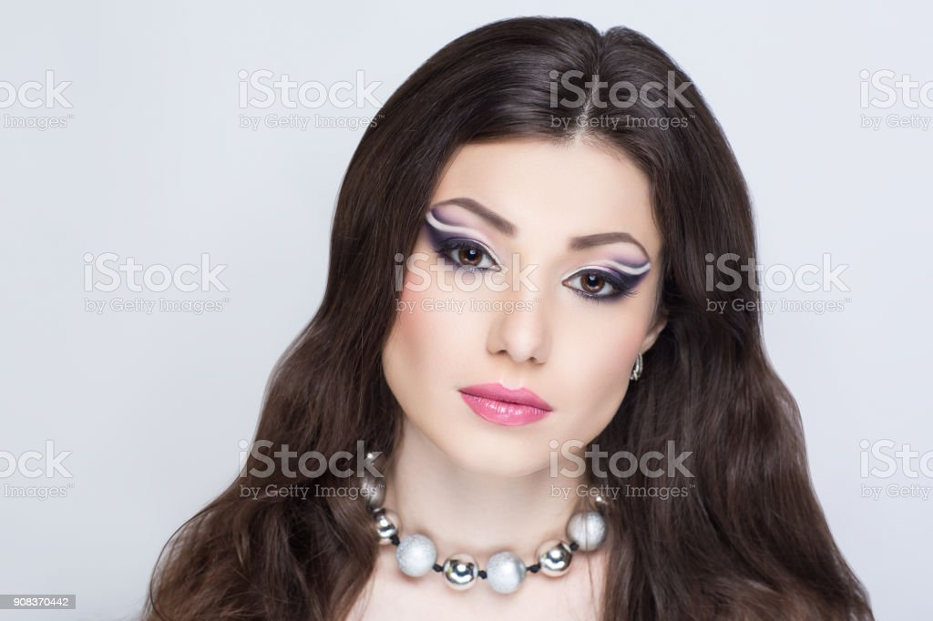 beautiful young woman art make up stock photo