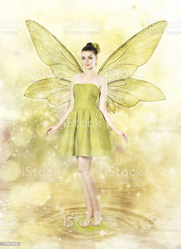 Beautiful young woman as spring fairy stock photo