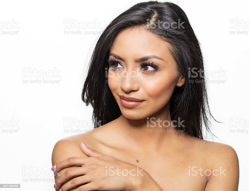 Beautiful young woman bare shoulders stock photo