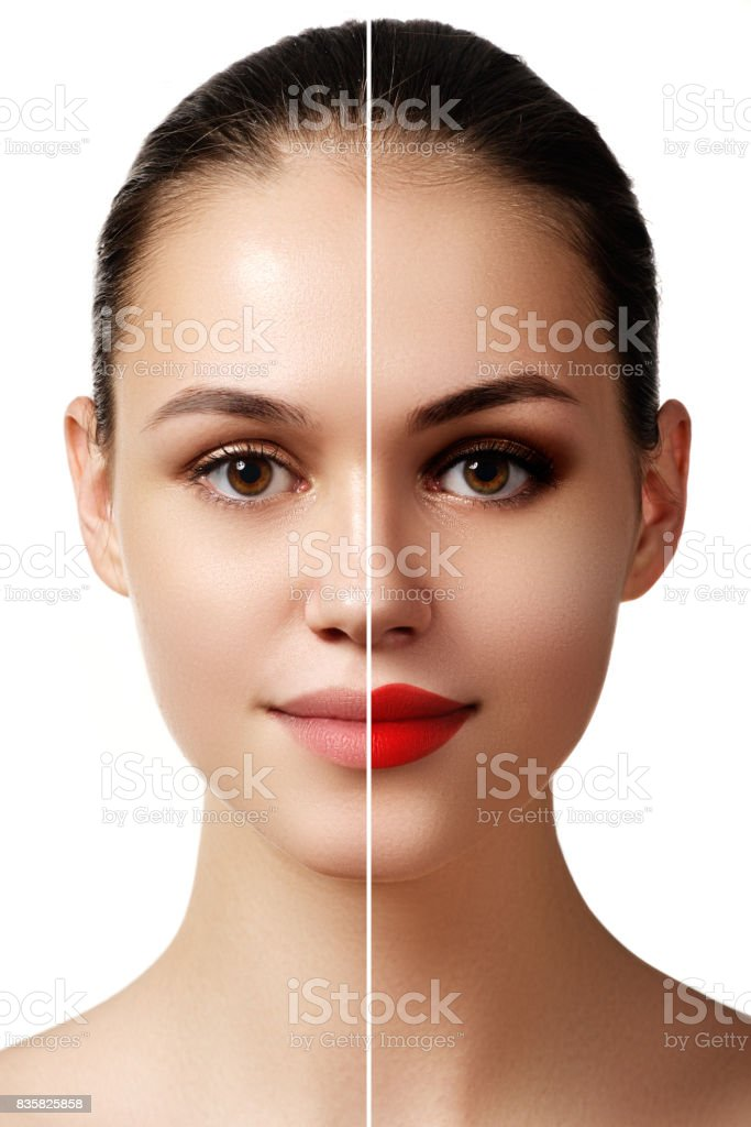 Beautiful young  woman before and after make-up applying. Compar stock photo