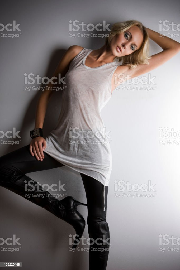Beautiful Young Woman Blond Fashion Model in High Heel Boots royalty-free stock photo