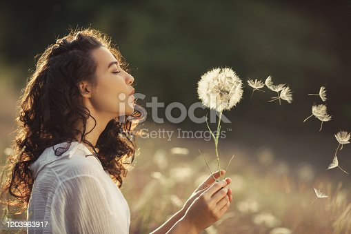 Beautiful Young Woman sitting on the field in green grass and blowing dandelion. Outdoors. Enjoy Nature. Healthy Smiling Girl on summer lawn. Allergy free concept. Gorgeous slim mixed race Caucasian Asian model posing on holidays. Side view