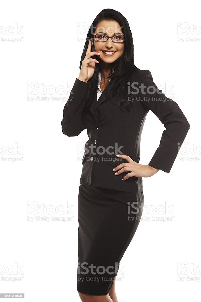 beautiful young woman calling by mobile royalty-free stock photo