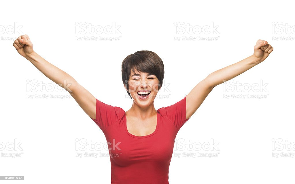 Beautiful young woman celebrating royalty-free stock photo
