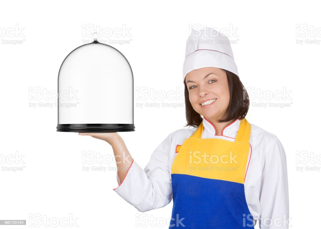 Beautiful Young Woman Chef with Glass Covered Tray stock photo