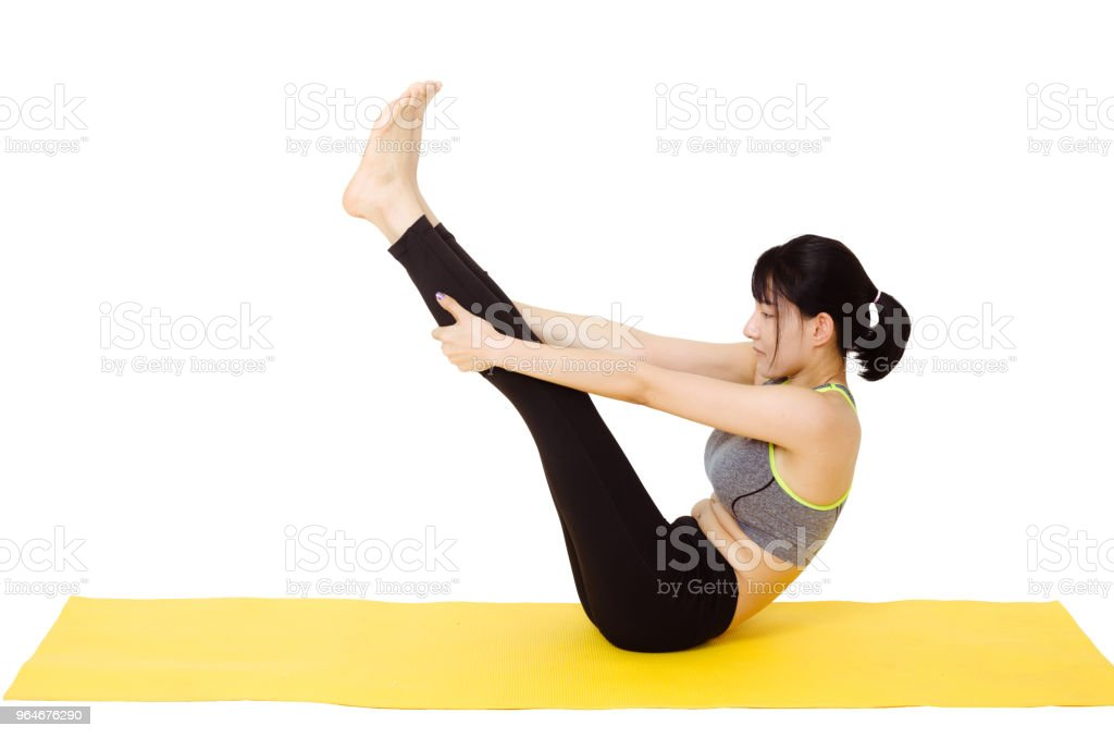 beautiful young woman doing practice yoga isolated on white background with clipping path. royalty-free stock photo