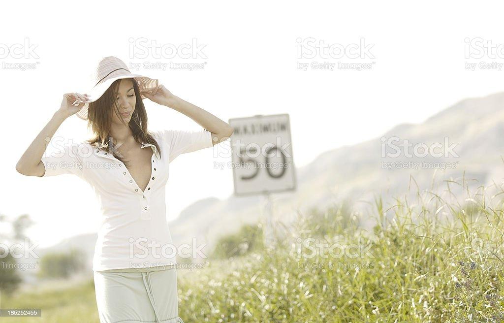 Beautiful Young Woman Enjoying Summer stock photo