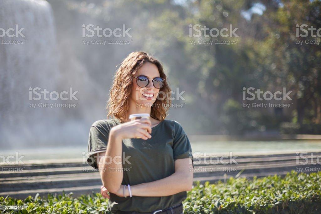 Beautiful young woman enjoying the city, Barcelona. royalty-free stock photo