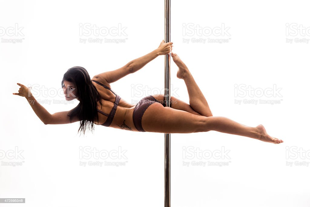 Beautiful Young Woman Exercise Pole Dance Stock Photo ...