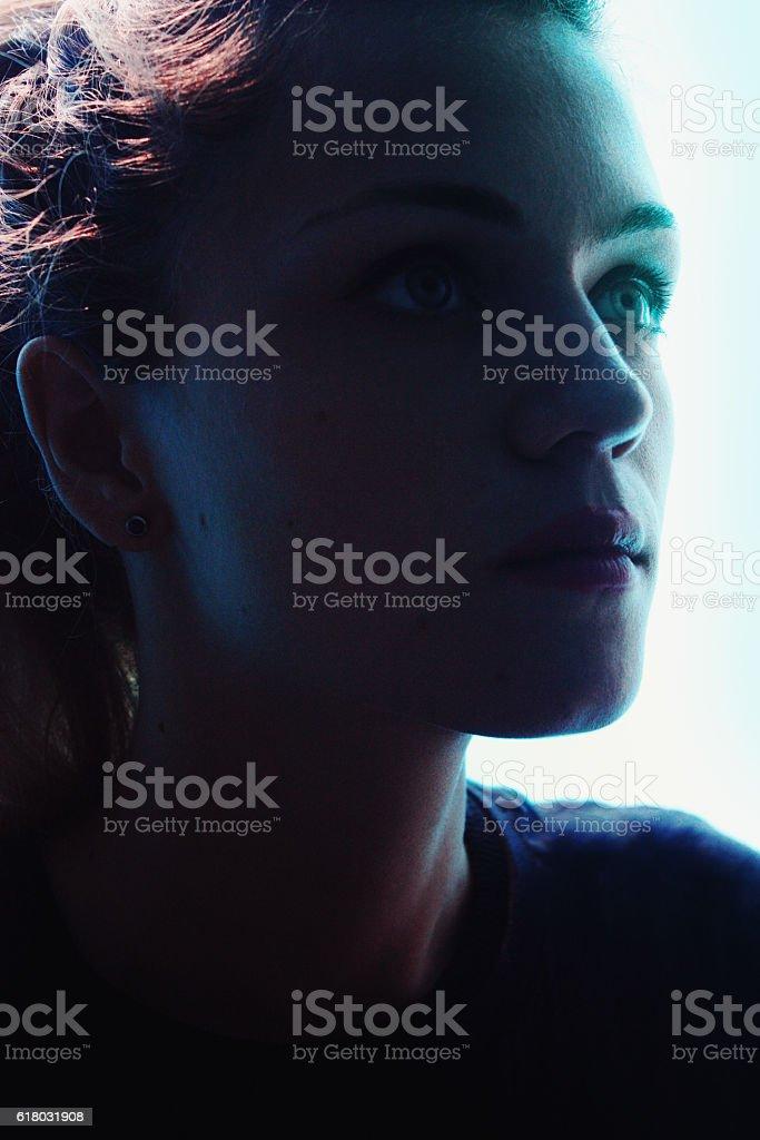 Hermosa joven mujer cara  foto de stock libre de derechos