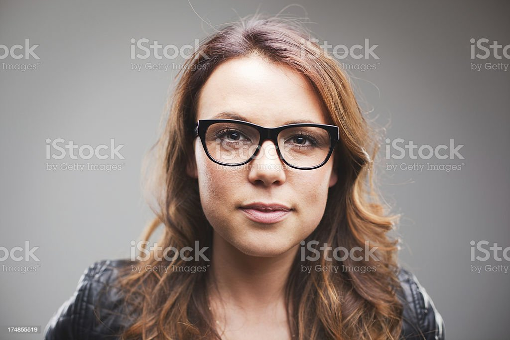 Beautiful young woman face portrait with copy space royalty-free stock photo