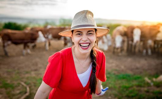 Beautiful young woman farmer