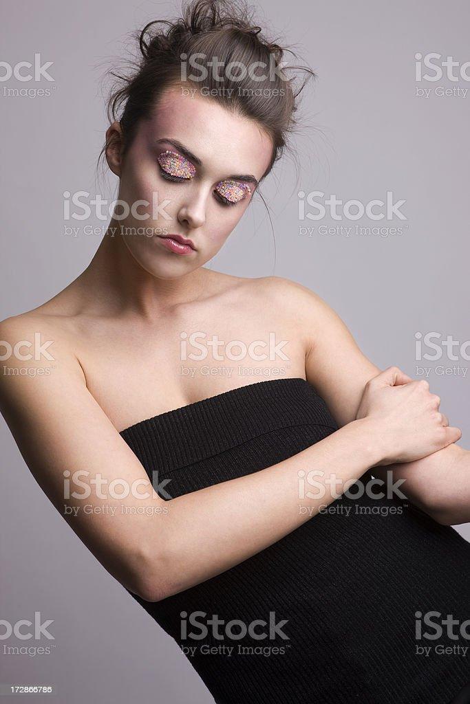 Beautiful Young Woman Fashion Model in Beaded Eye Makeup, Copyspace royalty-free stock photo