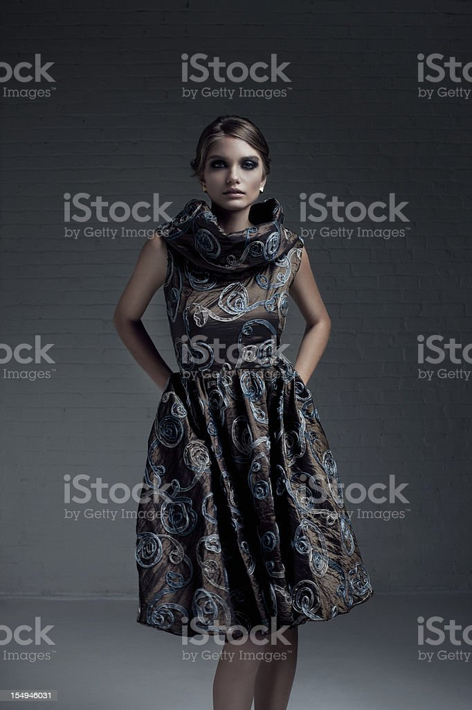 Beautiful Young Woman Fashion Model in Evening Gown, Copy Space royalty-free stock photo