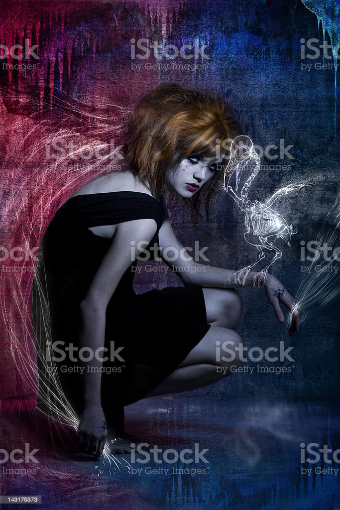 Beautiful Young Woman Fashion Model in Gothic Hairstyle, Makeup royalty-free stock photo