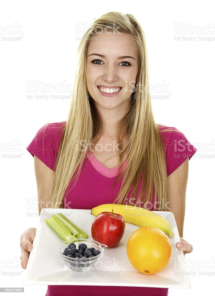 Beautiful Young Woman Holding Plate with Healthy Food royalty-free stock photo