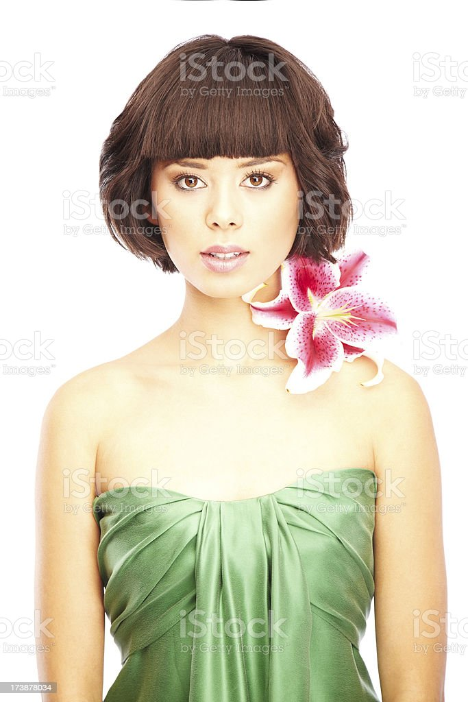 Beautiful Young Woman in a Green Dress royalty-free stock photo
