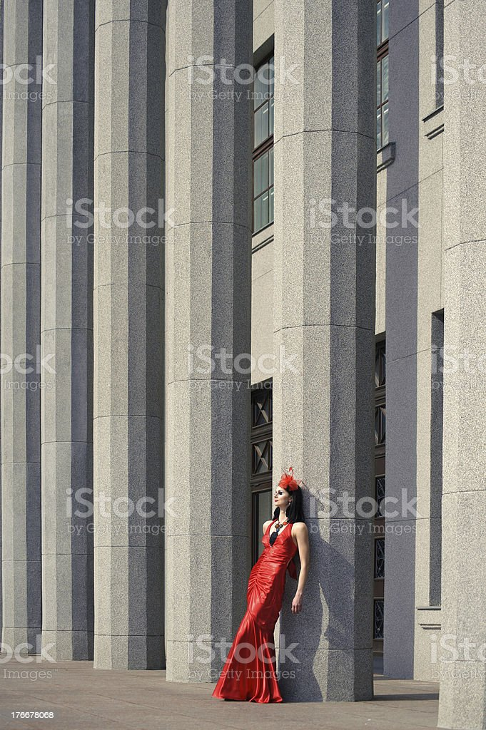 Beautiful young woman in a red dress royalty-free stock photo