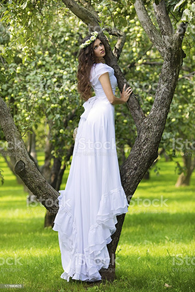 Beautiful young woman in a white dress royalty-free stock photo